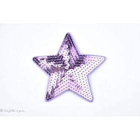 Ecusson sequin étoile - Violet mauve - Thermocollant
