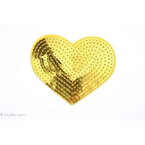 Ecusson sequin coeur - Doré - Thermocollant