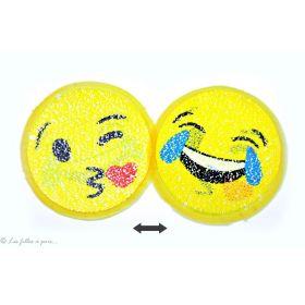 Motif sequin smilet emoji jaune réversible - à coudre  - 1