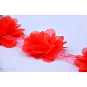 Fleur en tulle souple 50mm - Rouge - Lot de 2