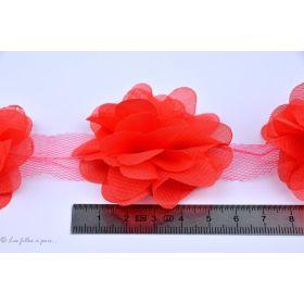 Fleur en tulle souple 50mm - Rouge - Lot de 2