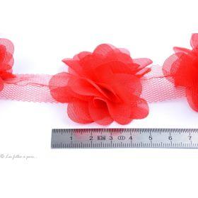 Fleur en tulle souple 50mm - Rose corail - Lot de 2