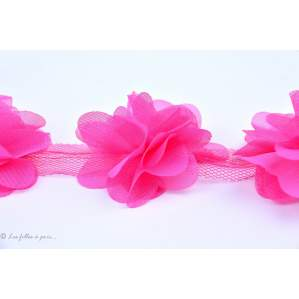 Fleur en tulle souple 50mm - Rose fuchsia - Lot de 2