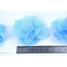 Fleur en tulle souple 50mm - Bleu ciel - Lot de 2
