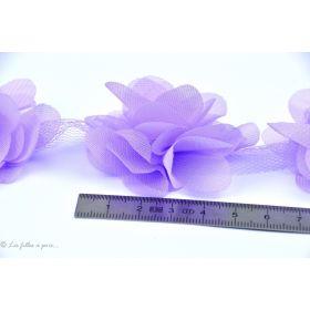 Fleur en tulle souple 50mm - Violet - Lot de 2