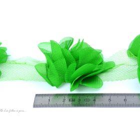 Fleur en tulle souple 50mm - Vert - Lot de 2