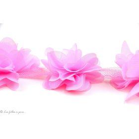 Fleur en tulle souple 50mm - Rose clair - Lot de 2