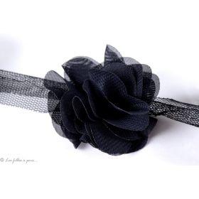 Fleur en tulle souple 50mm - Noir - Lot de 2
