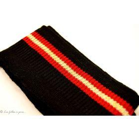 Bord côte double écru à rayures - Noir et rouge