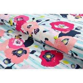 "Tissu popeline de coton motif coquelicots ""Skopelos"" - Blanc, bleu et rouge - OekoTex ® - AGF ® Art Gallery Fabrics ® - 1"