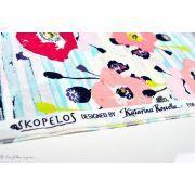 "Tissu popeline de coton motif coquelicots ""Skopelos"" - Blanc, bleu et rouge - OekoTex ® - AGF ®"
