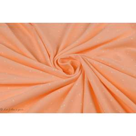 Tissu jersey motif pois - Saumon et blanc - Bio - AGF ®