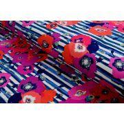 "Tissu jersey motif coquelicots ""Skopelos"" - Blanc, bleu et rouge - Oekotex ® - AGF ®"