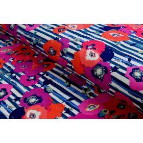 "Tissu jersey motif coquelicots ""Skopelos"" - Blanc, bleu et rouge - Oekotex ® - AGF ® Art Gallery Fabrics ® - 2"