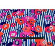 "Tissu jersey motif coquelicots ""Skopelos"" - Blanc, bleu et rouge - Oekotex ® - AGF ® Art Gallery Fabrics ® - Tissus - 5"