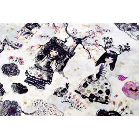 Tissu popeline de coton premium motif fillette Wonderland - Blanc et violet - AGF ®