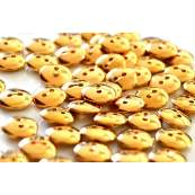 Lot de 6 boutons plat résine doré brillant 12.5mm
