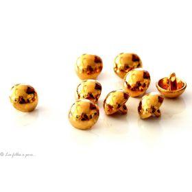 Boutons demi-boule - 10mm - Doré - Lot de 10