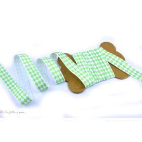 Biais élastique pré-plié motif losange - Vert menthe et blanc - 16mm