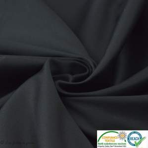 Coupon 1.50m tissu satin stretch (lycra) - Noir uni - Oeko-Tex ®