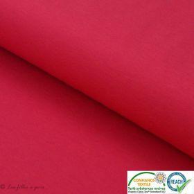 Tissu jersey punto di milano coton uni - Rouge framboise - Oeko-Tex ®