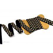 Biais élastique pré-plié motif étoile - Noir et doré - 16mm