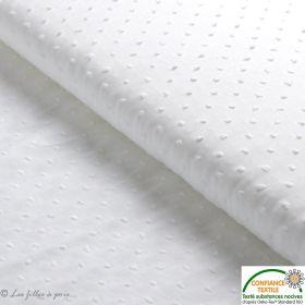 Tissu coton Dobby plumetis pois - blanc - Oeko-Tex