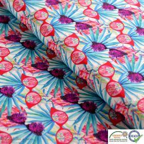 Tissu coton impression numérique motif lunettes de soleil - Bleu, rouge et blanc - Oeko-Tex ®