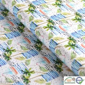 Tissu coton impression numérique motif palmier et bateau - Blanc, bleu et vert - Oeko-Tex ®