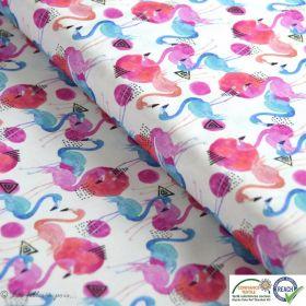 Tissu coton impression numérique motif flamant rose - Blanc, bleu et rose - Oeko-Tex ®