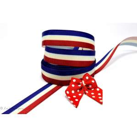Ruban gros grain bleu, blanc et rouge motif drapeau français 16mm