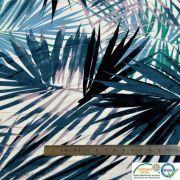 Tissu jersey viscose motif feuilles - Blanc et bleu-vert - Oeko-Tex ®
