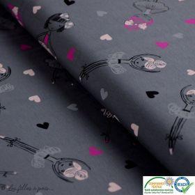 Tissu jersey coton motif fillette danseuse - Gris, rose et noir - Oeko-Tex ®