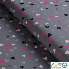 Tissu jersey coton motif coeur - Gris, rose et noir - Oeko-Tex ®