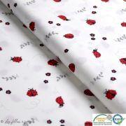Tissu popeline motif coccinelle - Blanc, rouge et noir