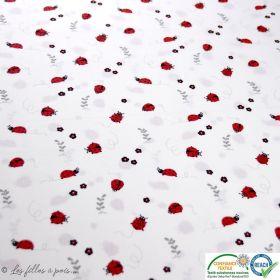 Tissu popeline motif coccinelle - Blanc, rouge et noir - Oeko-Tex ®
