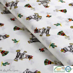 Tissu popeline motif zèbre indien - Blanc, jaune et noir - Oeko-Tex ®