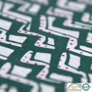 Tissu popeline motif zigzag - vert et blanc
