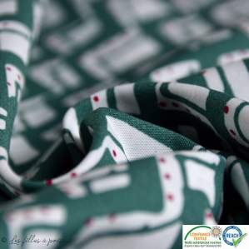 Tissu popeline motif zigzag - vert et blanc - Oeko-Tex ®