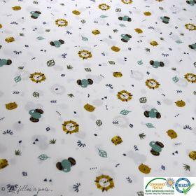 Tissu popeline motif animaux de la jungle - Blanc, vert et ocre - Oeko-Tex ®