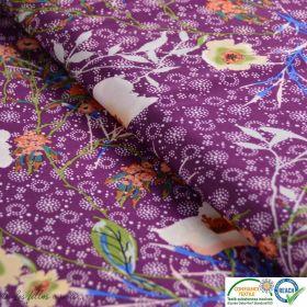 Tissu satin polyester motif fleuri - Prune - Oeko-tex ®