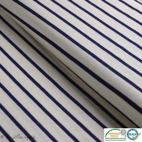 Tissu jersey viscose motif rayure marine - Blanc et bleu