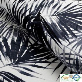 Tissu jersey viscose motif feuilles - Blanc, noir et gris