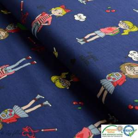 Tissu jersey coton motif fillettes et cerise - Bleu foncé et rouge - Oeko-Tex ® Autres marques - 1