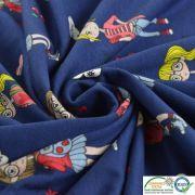 Tissu jersey coton motif fillettes et cerise - Bleu foncé et rouge - Oeko-Tex ®