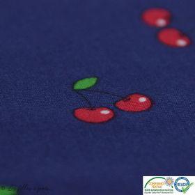 Tissu jersey coton motif cerise - Bleu foncé et rouge - Oeko-Tex ®