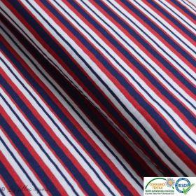 Tissu jersey viscose motif rayure marine - Bleu, blanc et rouge
