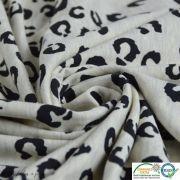 Tissu french terry coton motif léopard -  Gris et noir - Oeko-Tex ®
