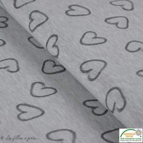 Tissu jersey coton motif coeur - Gris - Oeko-Tex ®