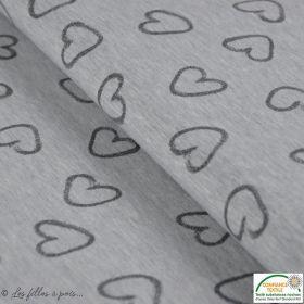 Tissu jersey coton motif coeur -  Gris
